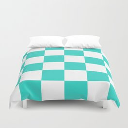 Large Checkered - White and Turquoise Duvet Cover