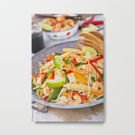 II - Healthy shrimp and vegetables stir-fry in a bowl, brightly lit Metal Print