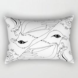 Blackbirds, Black Ink on White Rectangular Pillow