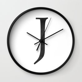 Letter J Initial Monogram Black and White Wall Clock