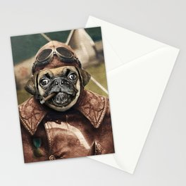 Pete the Pilot Pug Stationery Cards
