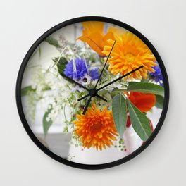Natural flowers at the window Wall Clock