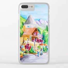 Vail Village Colorado Watercolor Clear iPhone Case