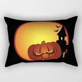 Evil Halloween Pumpkin Scene Rectangular Pillow