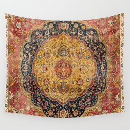 Indian Boho III // 16th Century Distressed Red Green Blue Flowery Colorful Ornate Rug Pattern Wall Tapestry