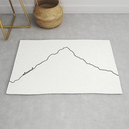 Mt Everest Art Print / White Background Black Line Minimalist Mountain Sketch Rug
