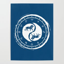 Leo Yin Yang Fifth Zodiac Sign Poster