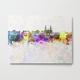 Santiago de Chile V2 skyline in watercolor background Metal Print