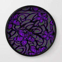 purple flower design Wall Clock