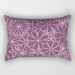 Stylized Flower Bunch Pink & Plum Rectangular Pillow