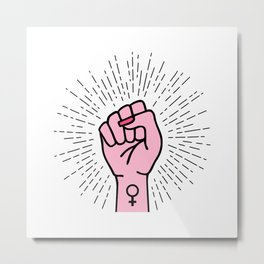 Feminist hand with female symbol Metal Print