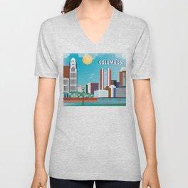 Columbus, Ohio - Skyline Illustration by Loose Petals Unisex V-Neck