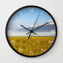 Morass grassland in sun rising Wall Clock