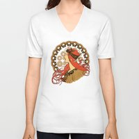 nouveau V-neck T-shirts featuring Steampunk Nouveau by Nana Leonti