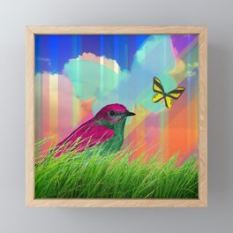 Bird & Butterflies Colorful Striped Sky Framed Mini Art Print
