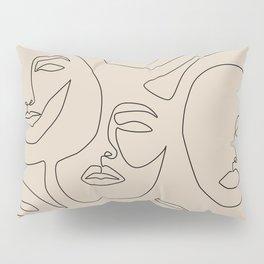 Faces In Beige Pillow Sham