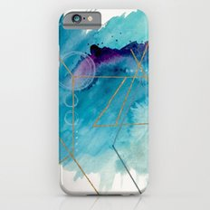 Galaxy Series 1 - a blue and gold abstract mixed media set iPhone 6s Slim Case