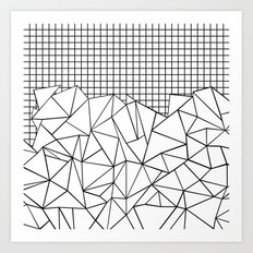 Abstract Grid #2 Black on White Art Print