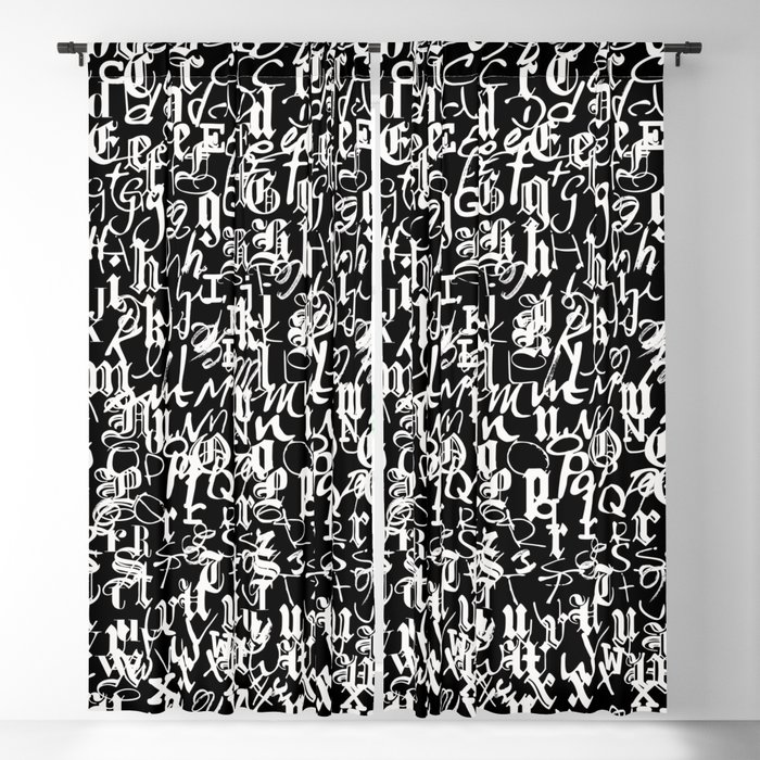 alphabet letters black and white - typography font pattern Blackout Curtain  by dotsandlines99