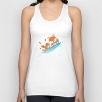 skiing Tank Tops featuring Skiing by HK Chik
