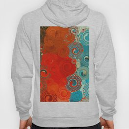 Turquoise and Red Swirls Hoody