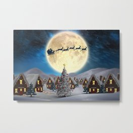 Christmas village night - Amazing cute christmas santa's sleigh goes through fantastic winter small town. Metal Print
