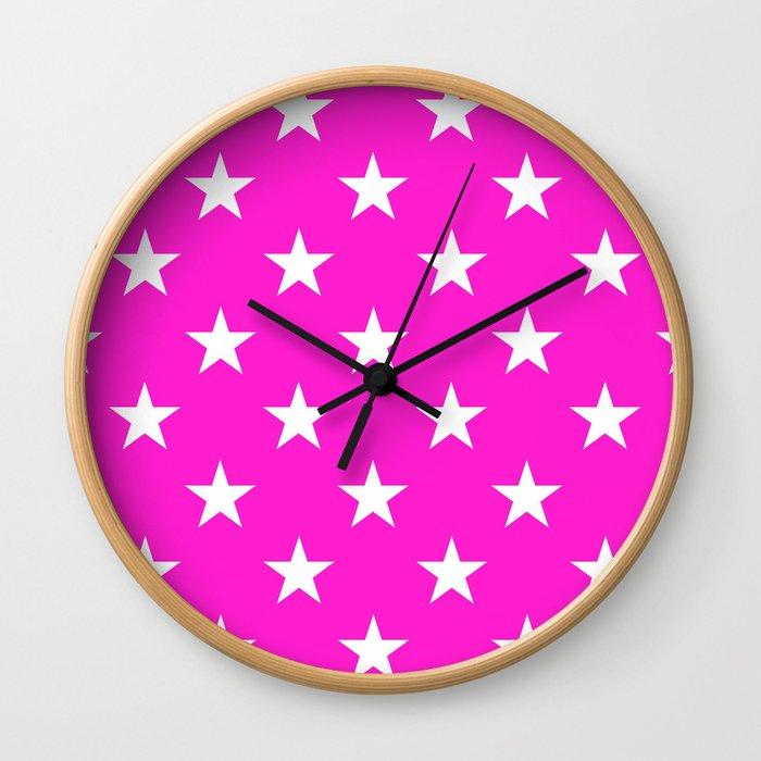 Stars (White/Hot Magenta) Wall Clock