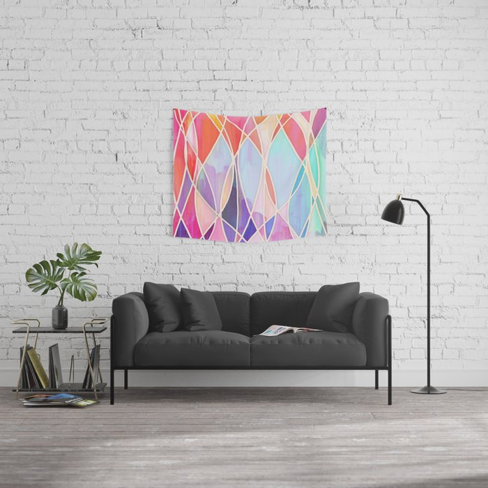 Purple & Peach Love - abstract painting in rainbow pastels Wall Tapestry