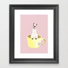 Llama in Cup Framed Art Print