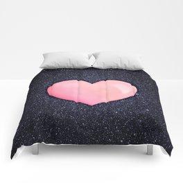 Pink heart on shiny black Comforters