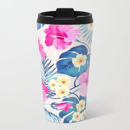 Tropical Pattern - Blue & Pink version Metal Travel Mug