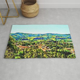 Brisighella: landscape with village Rug