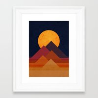 mountain Framed Art Prints featuring Full moon and pyramid by Picomodi