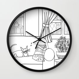 Cat and flies and sofa. Wall Clock
