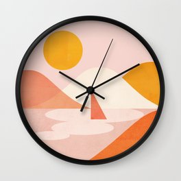 Abstraction_Lake_Sunset_Minimalism_001 Wall Clock