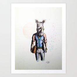 Rhino in Casual Wear Art Print