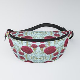 Red Garden Rose Photo Collage on Blue Background Fanny Pack