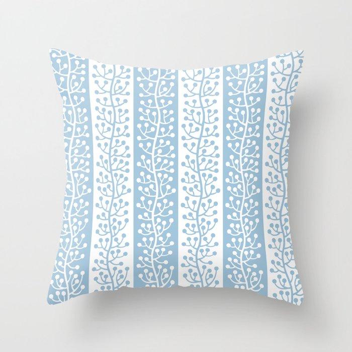 Mid Century Modern Berry Vine Stripes Pale Blue Throw Pillow