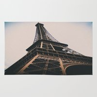 eiffel tower Area & Throw Rugs featuring Eiffel Tower by Christine Workman