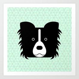 Border collie green mint Art Print