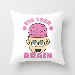 Use Your Brain T-shirt Design with a nice image of a Boy with his Brain out Pinky Brainy Stupid Throw Pillow
