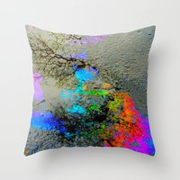 2pac Throw Pillows featuring Urban Rainbow by a.rose