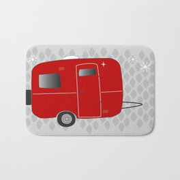vintage trailer in red Bath Mat
