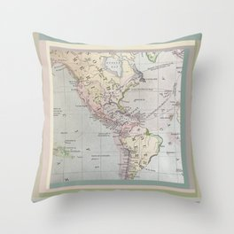 Volcanoes, antique map, western hemisphere Throw Pillow