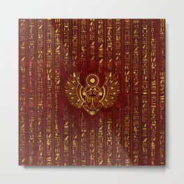 Golden Egyptian Scarab Ornament  on red leather Metal Print