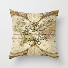 Book Traveler Vintage Map v2 Throw Pillow