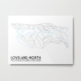 Loveland - North Exposure, CO - Minimalist Trail Art Metal Print