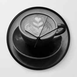 Cafe Heart - Black and White Wall Clock