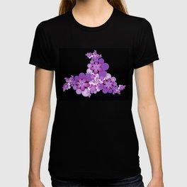 Fractal Flower Decoration On Black Background T-shirt