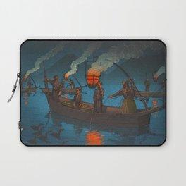 Beautiful Vintage Japanese Woodblock Print Japanese Fisherman Flame Torch Laptop Sleeve